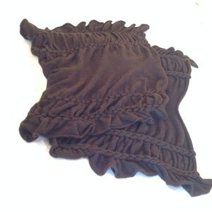 Dennis Basso 100% Cashmere Brown Knit Wrap Scarf